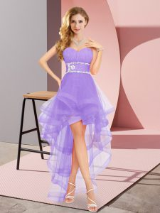 Lavender Sweetheart Neckline Beading Wedding Guest Dresses Sleeveless Lace Up