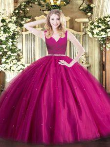 Fuchsia Ball Gowns V-neck Sleeveless Tulle Floor Length Zipper Beading Sweet 16 Dress
