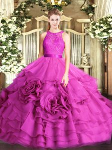 Shining Fuchsia Fabric With Rolling Flowers Zipper Scoop Sleeveless Floor Length Sweet 16 Dress Lace