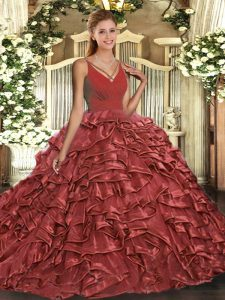 Decent Floor Length Ball Gowns Sleeveless Red Quinceanera Dresses Backless