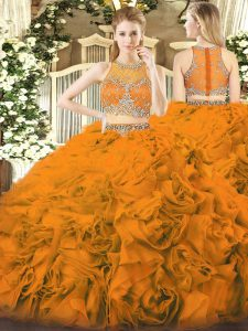 Enchanting Orange Red Ball Gowns Beading 15th Birthday Dress Zipper Fabric With Rolling Flowers Sleeveless Floor Length
