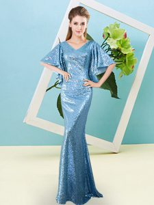 Traditional Baby Blue V-neck Neckline Sequins Homecoming Dress Half Sleeves Zipper