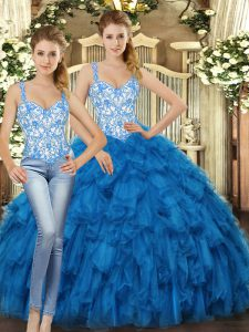 New Arrival Blue Sleeveless Organza Lace Up Sweet 16 Quinceanera Dress for Military Ball and Sweet 16 and Quinceanera