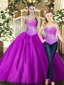 Fuchsia Ball Gowns Tulle Sweetheart Sleeveless Beading Floor Length Lace Up Sweet 16 Dresses