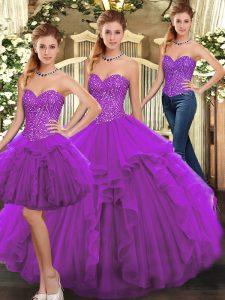 Modest Sleeveless Lace Up Floor Length Ruffles 15th Birthday Dress