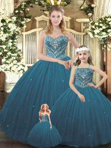 Teal Tulle Lace Up Sweetheart Sleeveless Floor Length 15 Quinceanera Dress Beading