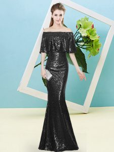 Black Sequined Zipper Off The Shoulder Half Sleeves Floor Length Prom Gown Sequins