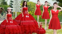 Perfect Sleeveless Lace Up Floor Length Embroidery and Ruffles Quinceanera Gown