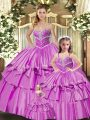 Pretty Lilac Sleeveless Floor Length Beading and Ruffled Layers Lace Up Sweet 16 Dresses