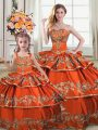 New Style Orange Ball Gowns Satin and Organza Straps Sleeveless Embroidery and Ruffled Layers Floor Length Lace Up Vestidos de Quinceanera