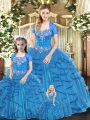 Blue Ball Gowns Tulle Sweetheart Sleeveless Beading and Ruffles Floor Length Lace Up Quinceanera Dresses