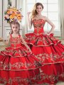 Red Ball Gowns Satin and Organza Sweetheart Sleeveless Embroidery and Ruffled Layers Floor Length Lace Up Quinceanera Dresses