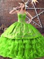 Artistic Satin and Organza Sleeveless Sweet 16 Quinceanera Dress and Embroidery
