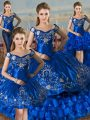 Popular Royal Blue Vestidos de Quinceanera Sweet 16 and Quinceanera with Embroidery and Ruffled Layers Off The Shoulder Sleeveless Lace Up