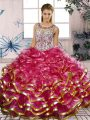 Fuchsia Ball Gowns Scoop Sleeveless Organza Floor Length Lace Up Beading and Ruffles Sweet 16 Dress