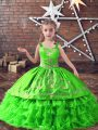 Straps Neckline Embroidery and Ruffled Layers Little Girls Pageant Dress Wholesale Sleeveless Lace Up