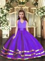 Adorable Purple Lace Up Little Girl Pageant Gowns Ruffled Layers Sleeveless Floor Length