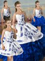 Delicate Sweetheart Sleeveless Quinceanera Gowns Floor Length Embroidery and Ruffles Blue And White Satin and Organza