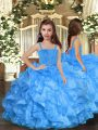 Charming Organza Sleeveless Floor Length Little Girls Pageant Gowns and Ruffles