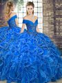Dazzling Royal Blue Ball Gowns Organza Off The Shoulder Sleeveless Beading and Ruffles Floor Length Lace Up Quinceanera Gowns