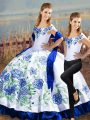 Noble Satin Off The Shoulder Sleeveless Lace Up Embroidery Quince Ball Gowns in Blue And White