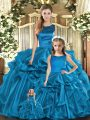 Custom Design Teal Sleeveless Organza Lace Up Sweet 16 Quinceanera Dress for Military Ball and Sweet 16 and Quinceanera