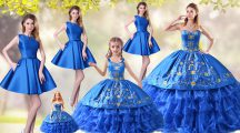 Customized Blue Lace Up Sweetheart Embroidery and Ruffled Layers Sweet 16 Quinceanera Dress Organza Sleeveless