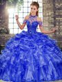 Blue Quince Ball Gowns Military Ball and Sweet 16 and Quinceanera with Beading and Ruffles Halter Top Sleeveless Lace Up