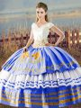 V-neck Sleeveless Ball Gown Prom Dress Asymmetrical Embroidery and Ruffled Layers Blue And White Satin