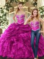 Fuchsia Lace Up Sweetheart Beading and Ruffles and Pick Ups Sweet 16 Dress Organza Sleeveless