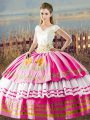 Sophisticated Ball Gowns Quinceanera Dresses Hot Pink V-neck Satin Sleeveless Floor Length Lace Up