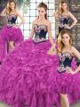 Ideal Embroidery and Ruffles Sweet 16 Dress Fuchsia Lace Up Sleeveless Sweep Train