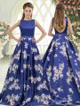Royal Blue A-line Printed Scoop Sleeveless Beading and Pattern Backless Brush Train