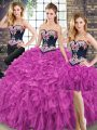 Fuchsia Organza Lace Up Sweet 16 Dresses Sleeveless Floor Length Embroidery and Ruffles