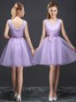 Organza Sleeveless Mini Length Bridesmaid Dresses and Lace and Appliques and Belt