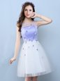 White A-line Tulle Scoop Sleeveless Appliques Knee Length Lace Up Wedding Guest Dresses