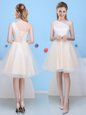 Nice One Shoulder Champagne Lace Up Bridesmaids Dress Bowknot Sleeveless Knee Length
