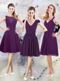 Exceptional Purple V-neck Zipper Ruching Wedding Guest Dresses Cap Sleeves