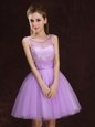 Dramatic Scoop Sleeveless Mini Length Lace and Ruching Lace Up Quinceanera Dama Dress with Lilac