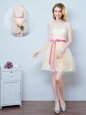 Tulle Scoop Sleeveless Lace Up Ruffles and Ruching and Bowknot and Hand Made Flower Wedding Party Dress in Pink