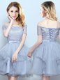Affordable Off the Shoulder Grey Lace Up Wedding Guest Dresses Lace and Ruffles and Belt Short Sleeves Mini Length