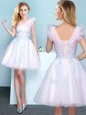 White Sleeveless Tulle Lace Up Wedding Party Dress for Prom and Party and Wedding Party
