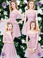 Mini Length Empire Sleeveless Pink Bridesmaid Dress Lace Up