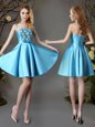 Baby Blue Sleeveless Satin Lace Up Bridesmaid Dresses for Prom and Party