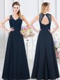 Navy Blue Backless Bridesmaids Dress Lace and Ruching Sleeveless Floor Length