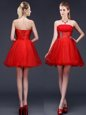 Simple Red Sleeveless Beading and Ruching and Belt Mini Length Bridesmaids Dress