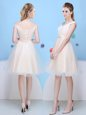 Super Champagne A-line Bowknot Damas Dress Lace Up Tulle Cap Sleeves Knee Length