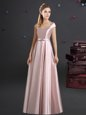 Off The Shoulder Cap Sleeves Elastic Woven Satin Bridesmaid Gown Bowknot Zipper