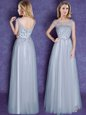 Sophisticated Scoop Cap Sleeves Appliques and Bowknot Lace Up Quinceanera Court Dresses