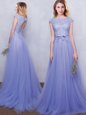 Clearance Brush Train Empire Wedding Guest Dresses Lavender Scoop Tulle Cap Sleeves With Train Backless